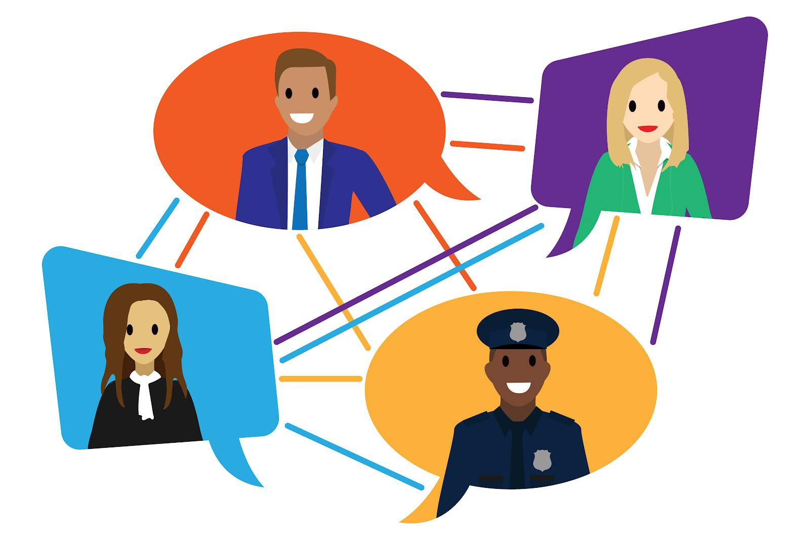 An image of a network of people in different uniforms, such as a businessman, policeman, government, with speech bubbles above their head and lines connecting them.