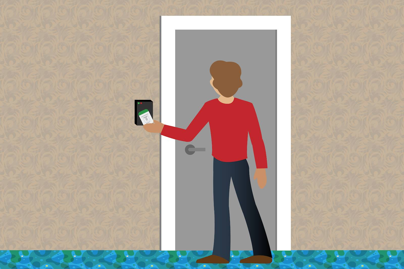 Image of a person badging into a locked door.