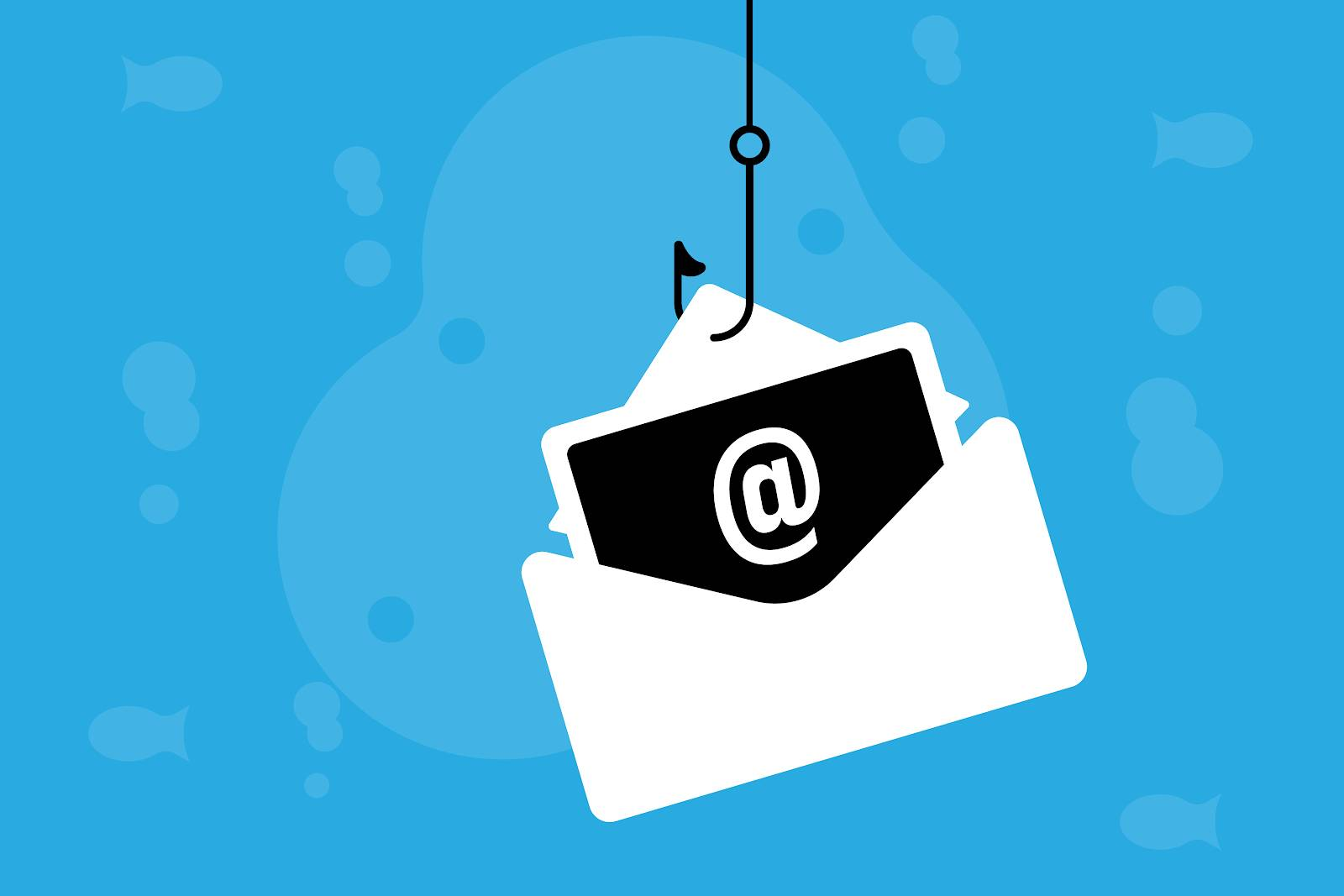 Image of an email message on a fishing hook.