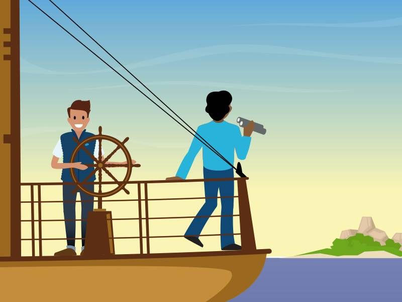 Image of a captain steering a ship while another person is looking through binoculars at the horizon.