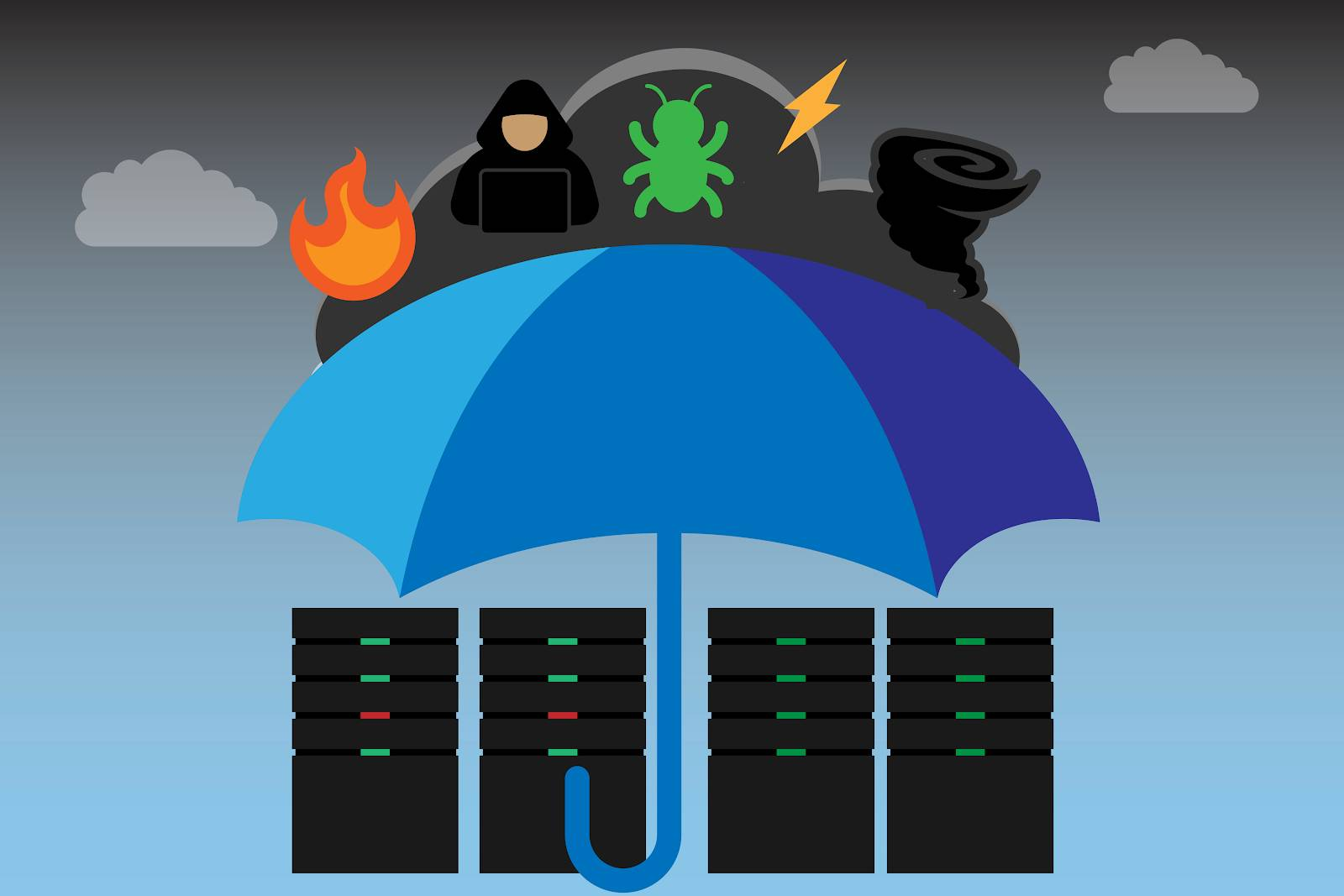 Image of a group of servers, covered by an umbrella, with icons representing fire, a hacktivist, a bug indicating malware, lightning, and a tornado in the sky.