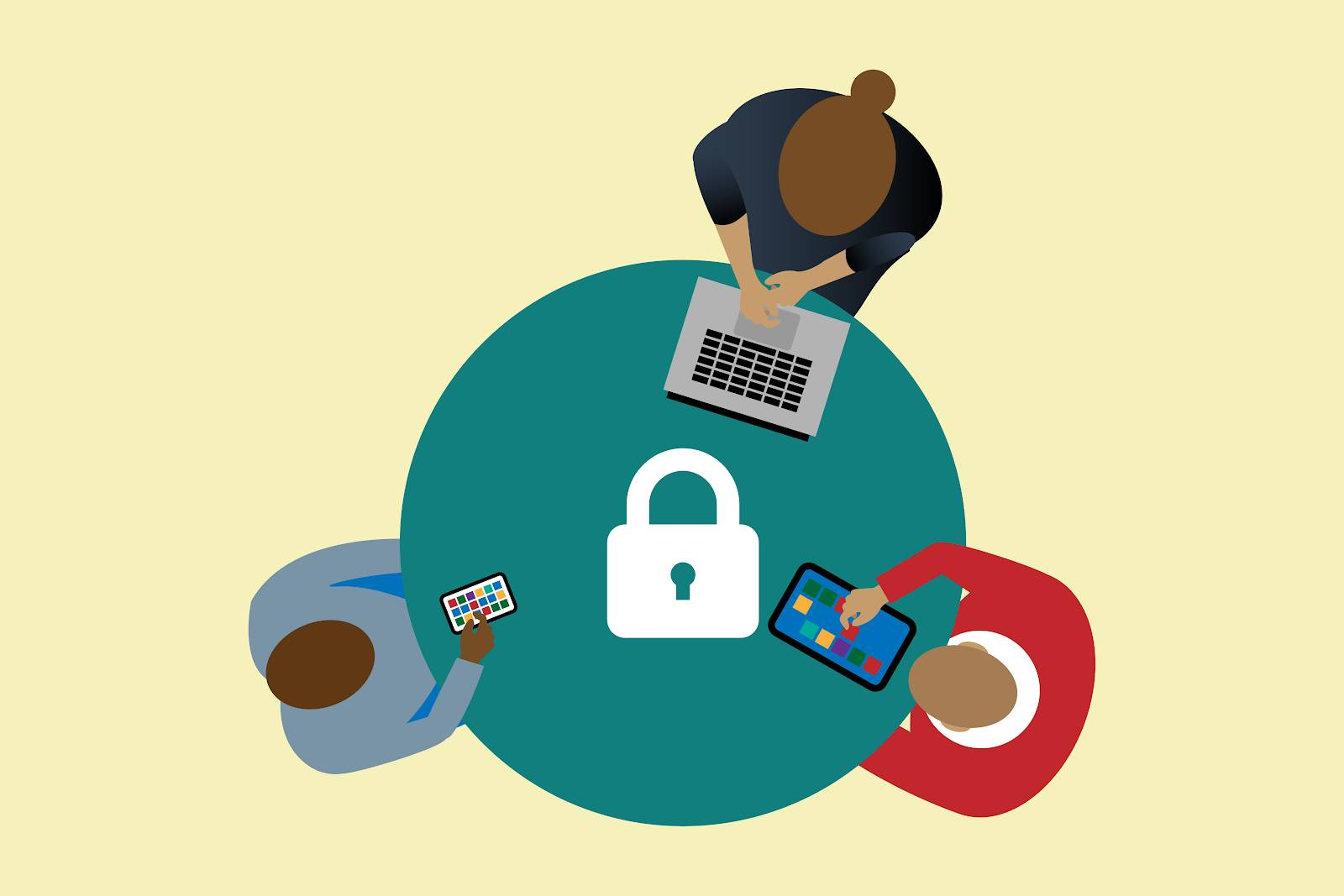 Image of a circular table with users around it each with a laptop, mobile phone, tablet, and a padlock image in the middle.