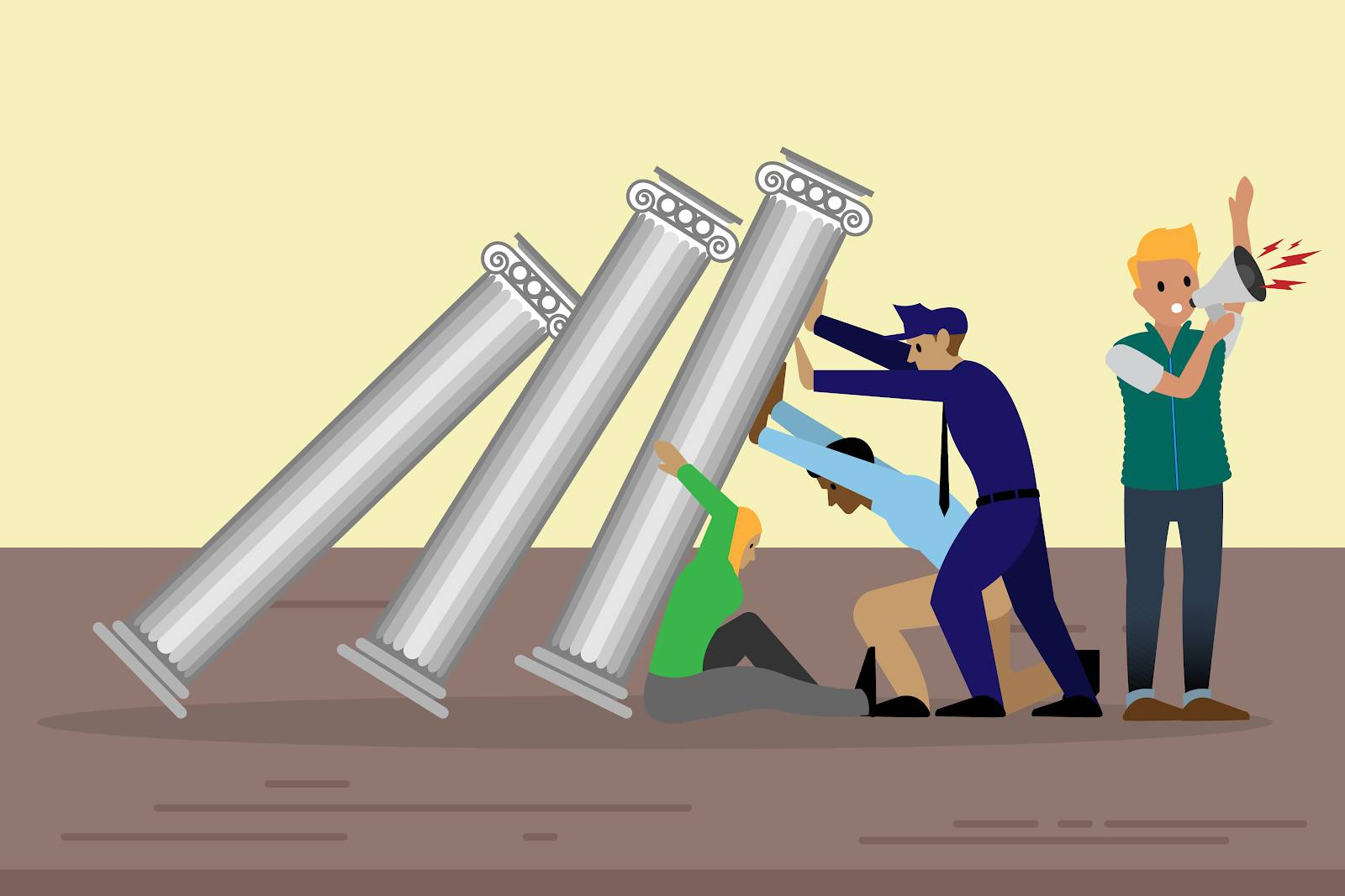Image of a team of people from different roles in different organizations trying to hold up pillars that are falling over.