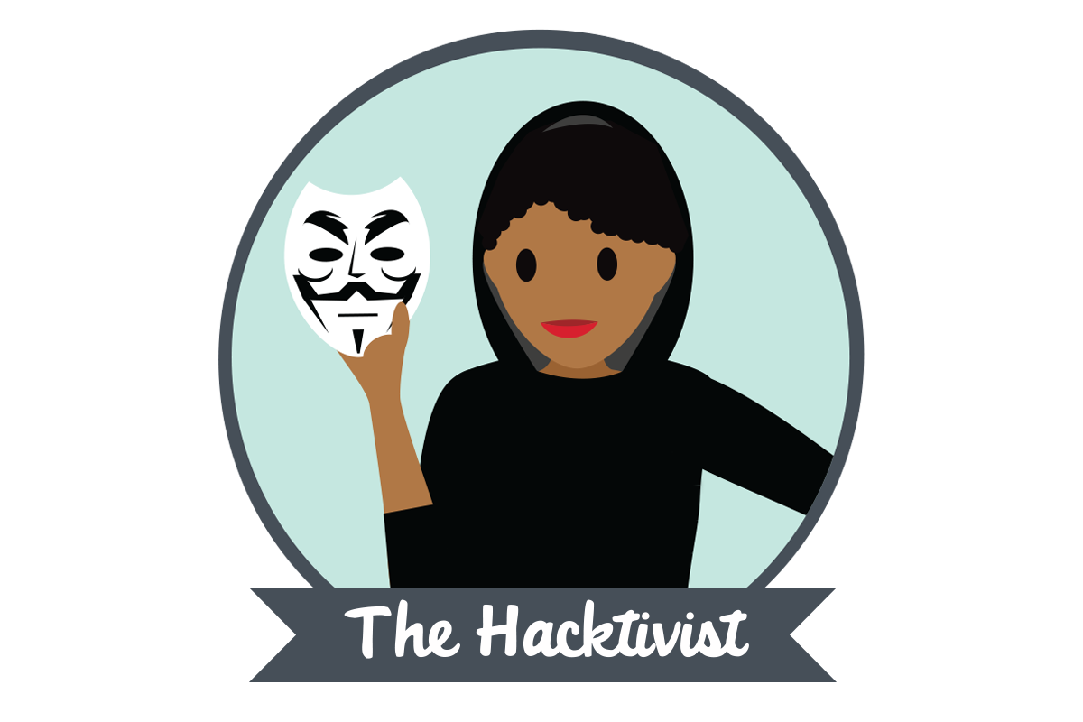"A woman holding a mask above text stating ""The Hacktivist"""