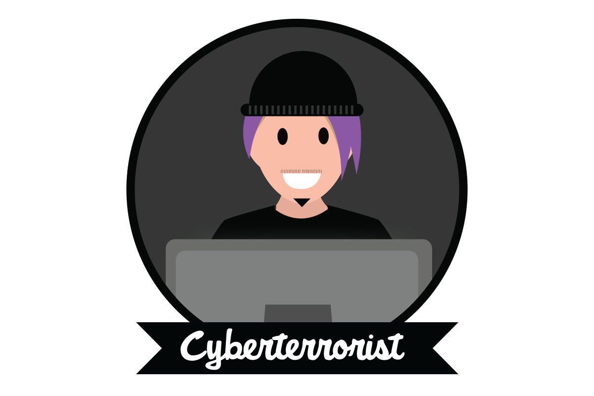 "A man in a black hat above text stating ""The Cyberterrorist"""