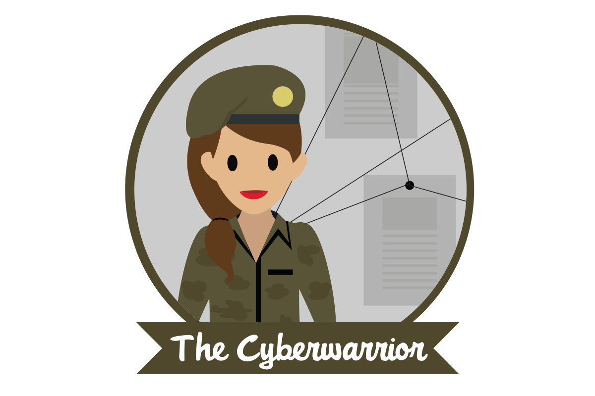 "A woman in military garb above text stating ""The Cyberwarrior"""