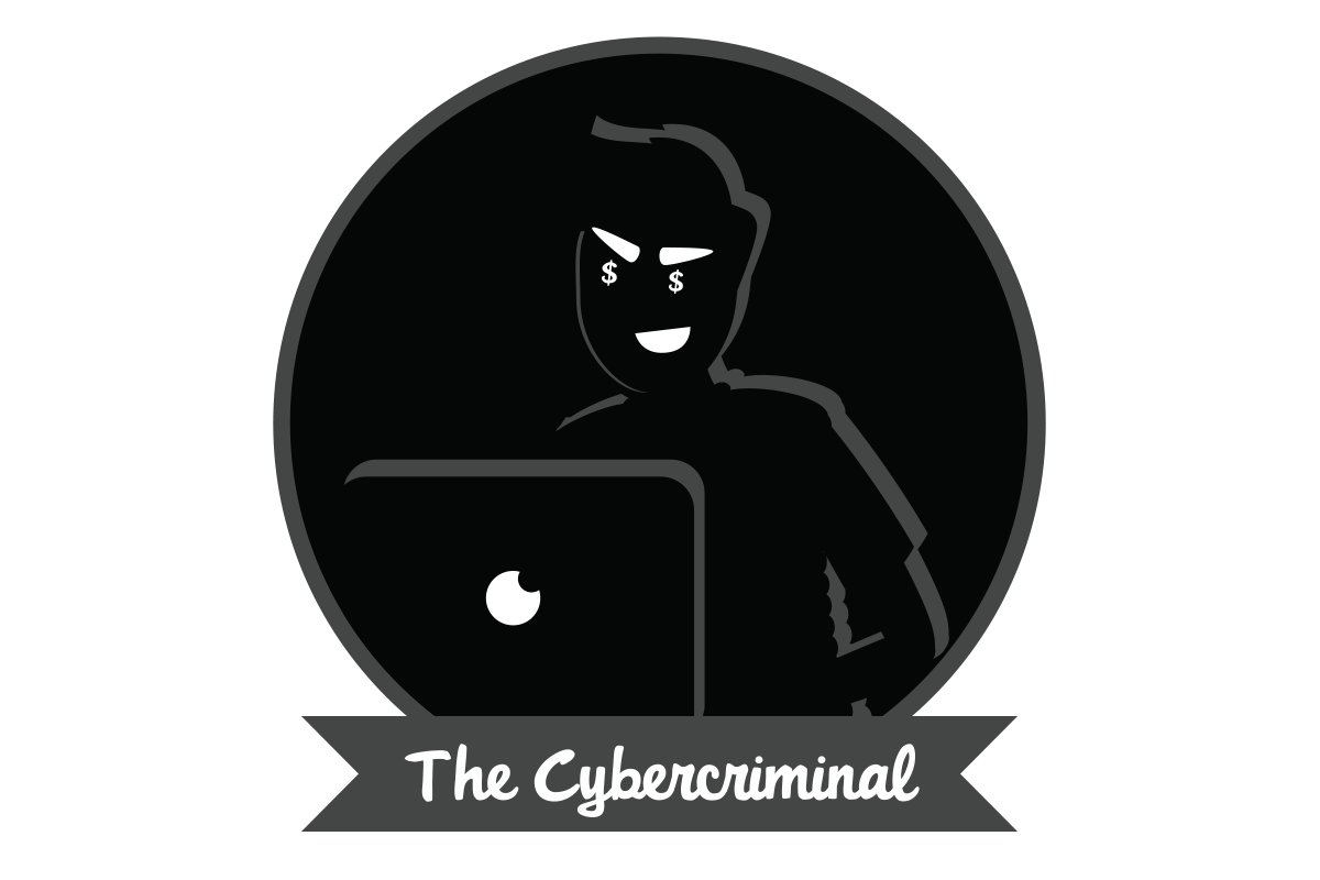 "A man sitting in a dark room behind a computer above text stating ""The Cybercriminal"""
