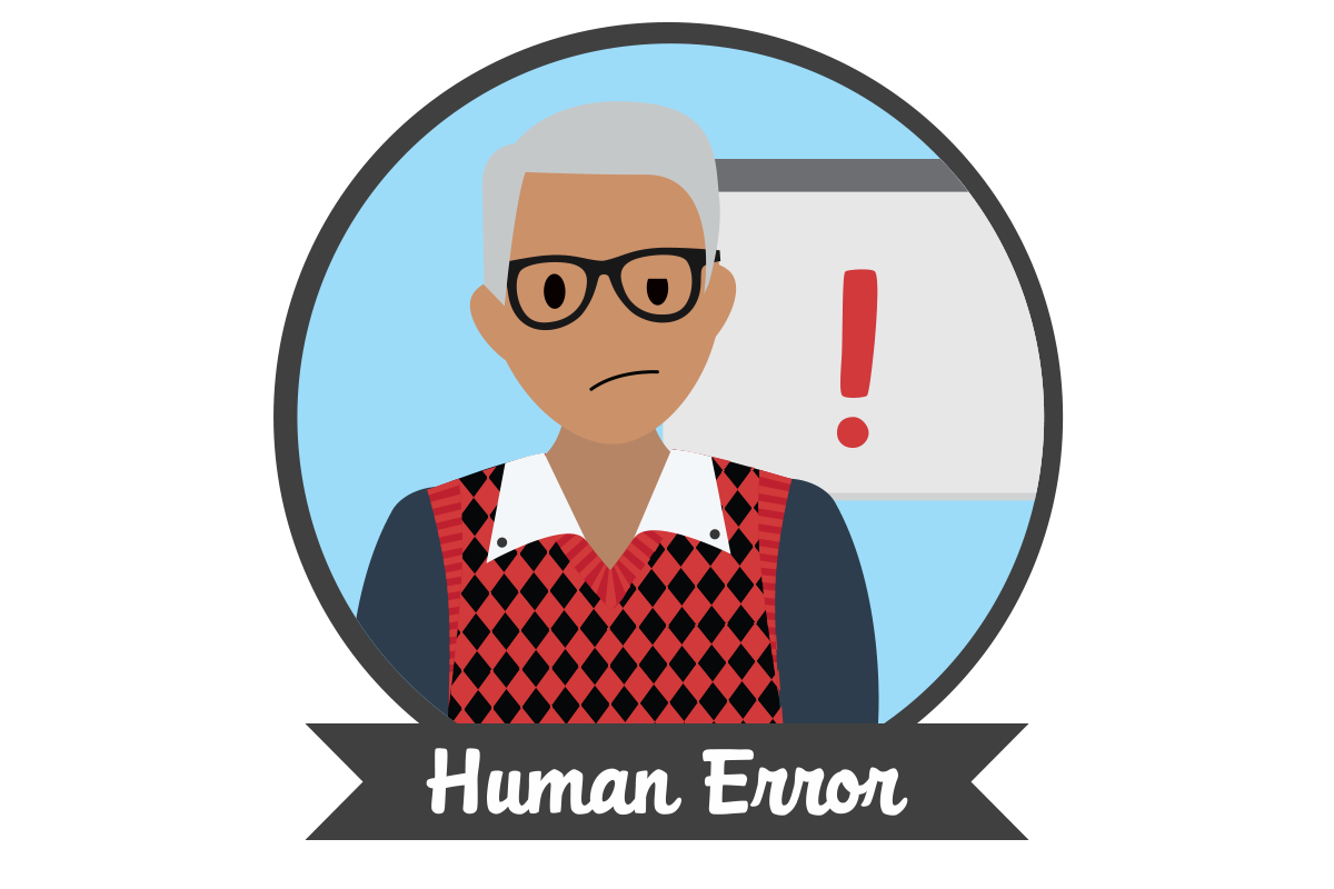 "Image of an employee making a mistake on a computer with text below stating ""Human Error""."