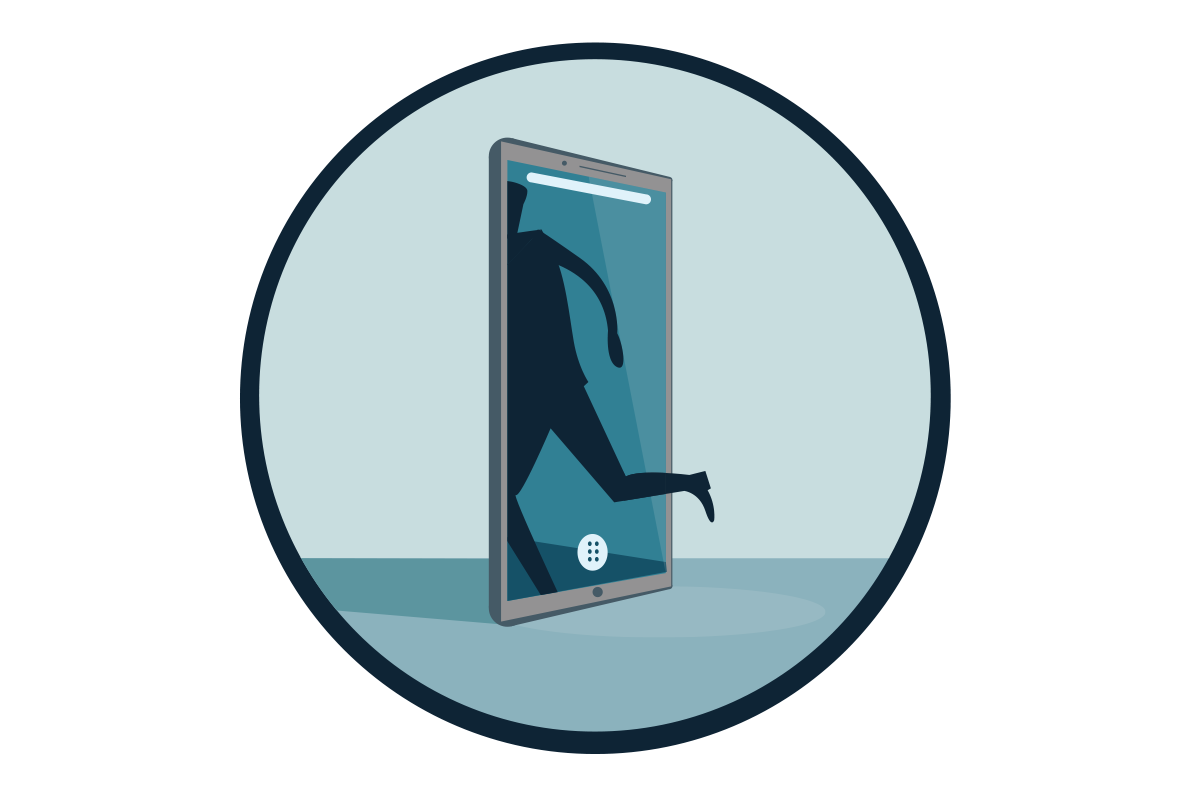 A person running through a smartphone screen.