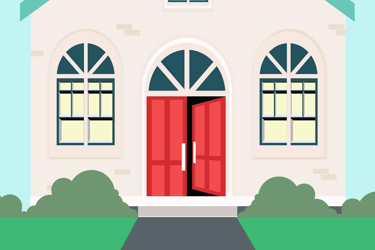 The front door of a house is open