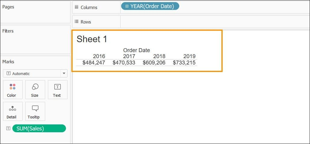 Sheet 1 table with sales totals for each year