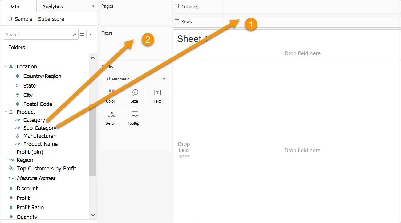 Arrows pointing from fields in the data pane to Columns and Rows (1) and Pages and Filters (2)