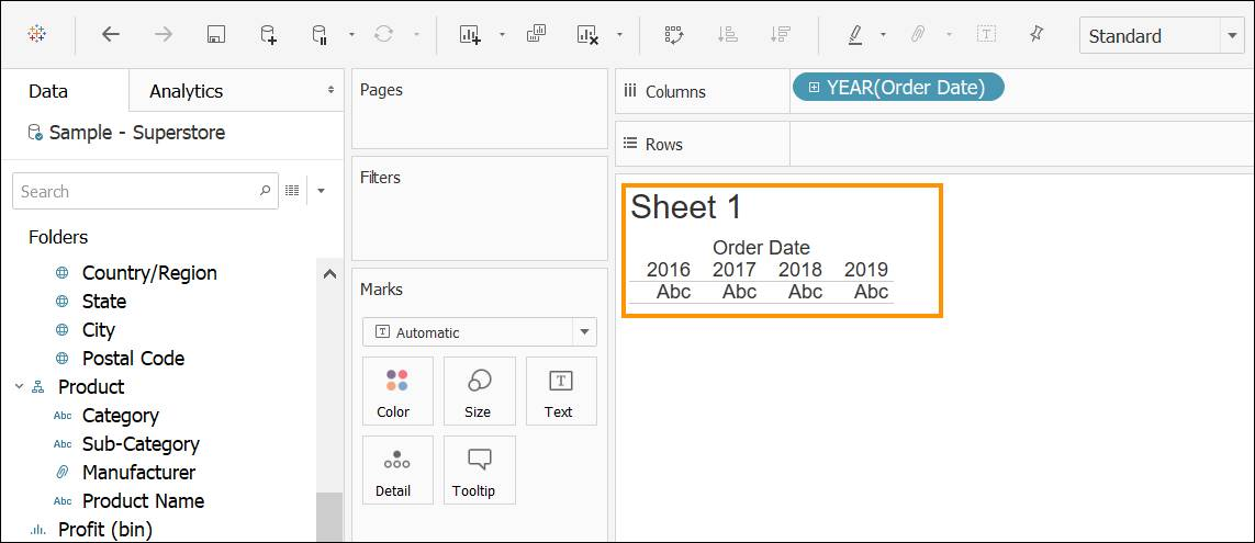 Sheet 1 table with Order Date divided by column per year
