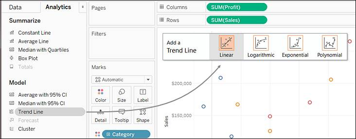 Drag Trend Line to Linear to create a linear trend line