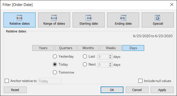 Filter dialog displaying the relative dates options