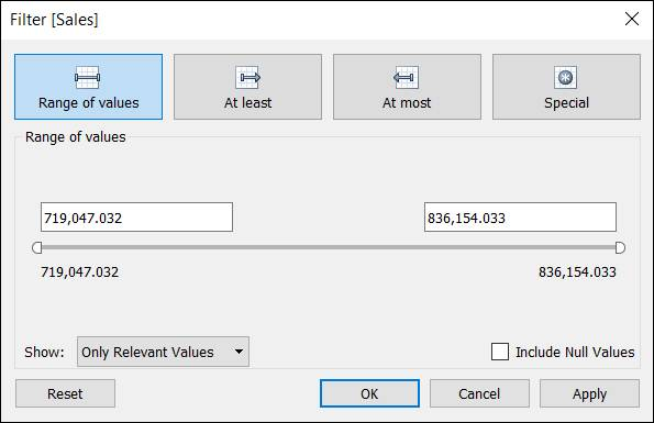 Filter dialog showing the filter criteria for measures
