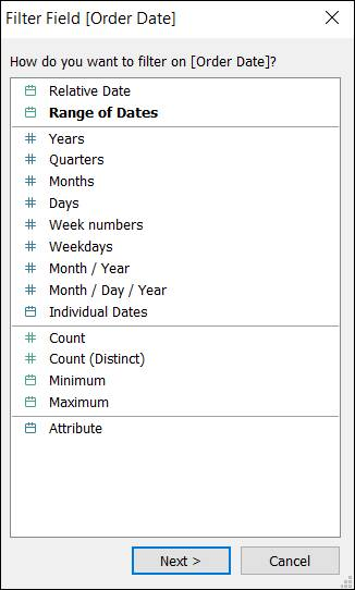 Filter Field dialog displaying types of filters for dates