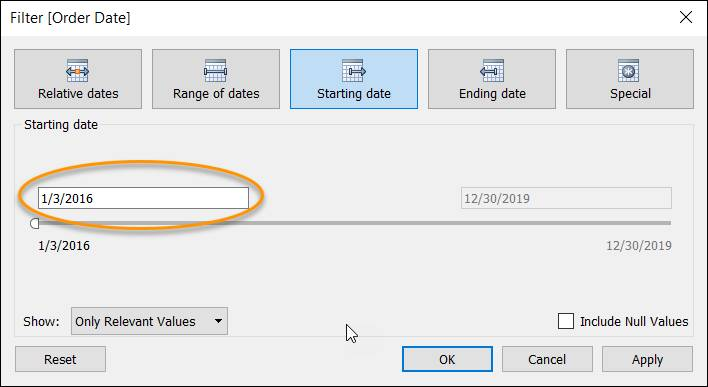 Filter dialog displaying the field for specifying the start date