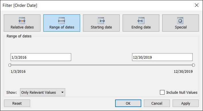 Filter dialog displaying fields to set the range of dates for filtering data