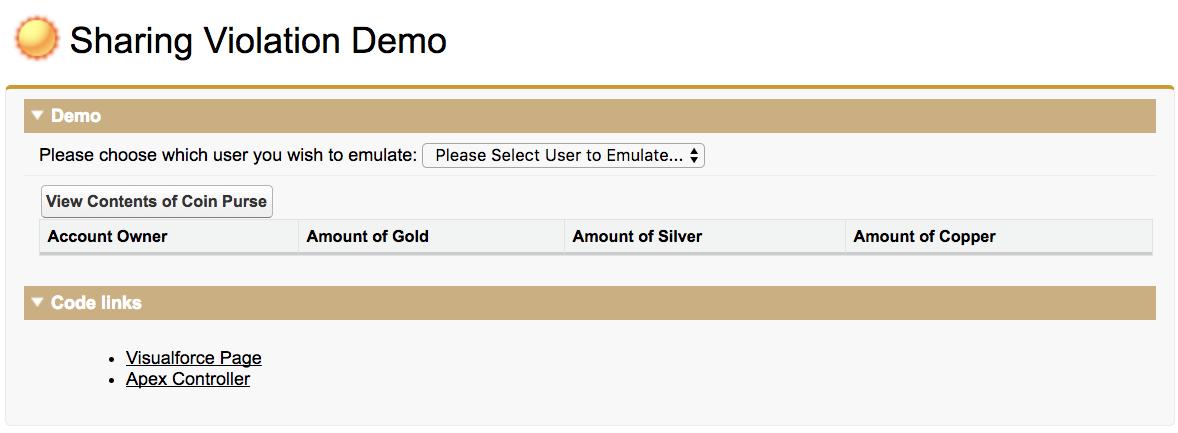 Screenshot of the Sharing Violation Demo App in the Kingdom Management developer org