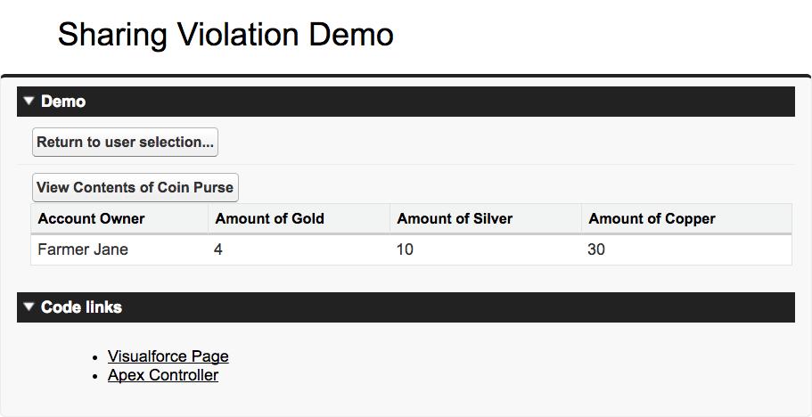 1 つのレコードのみを表示する、適切に制限された Sharing Demo アプリケーションのスクリーンショット