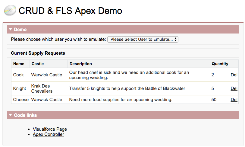Screenshot of the CRUD & FLS Apex Demo app