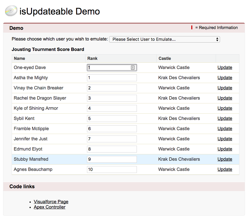 Screenshot of the isUpdateable Demo App
