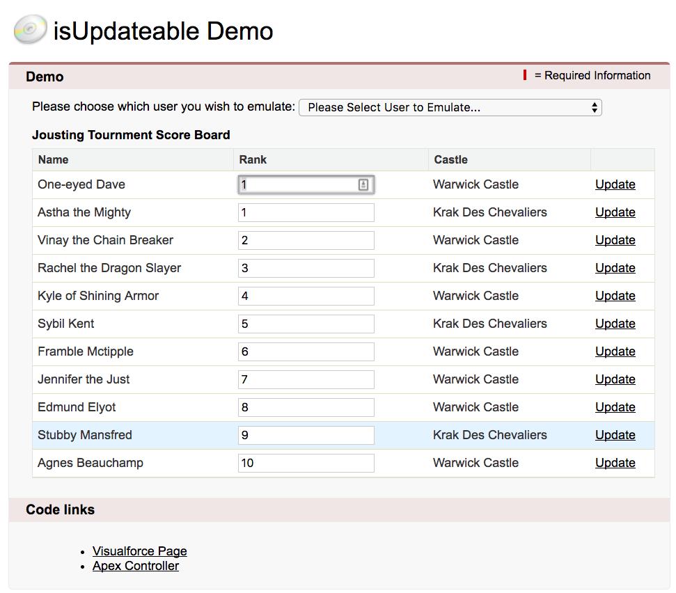 isUpdateable Demo アプリケーションのスクリーンショット