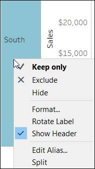 Context menu showing how to clear Show Header for Region
