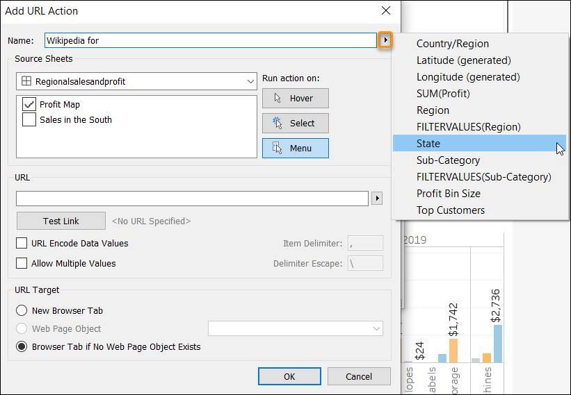 Edit URL Action dialog showing the Name field flyout menu
