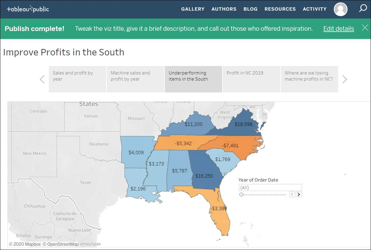 Improve Profits in the South story published on Tableau Public