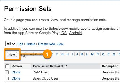 Locate the New Permission Set button.