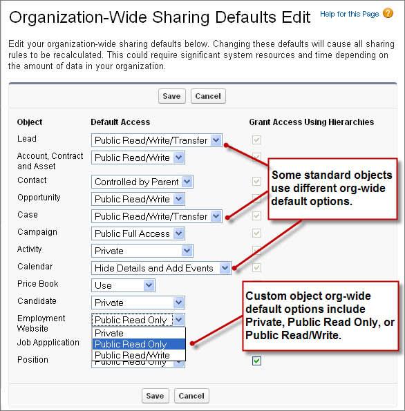 La página Modificación de valores predeterminados de toda la organización