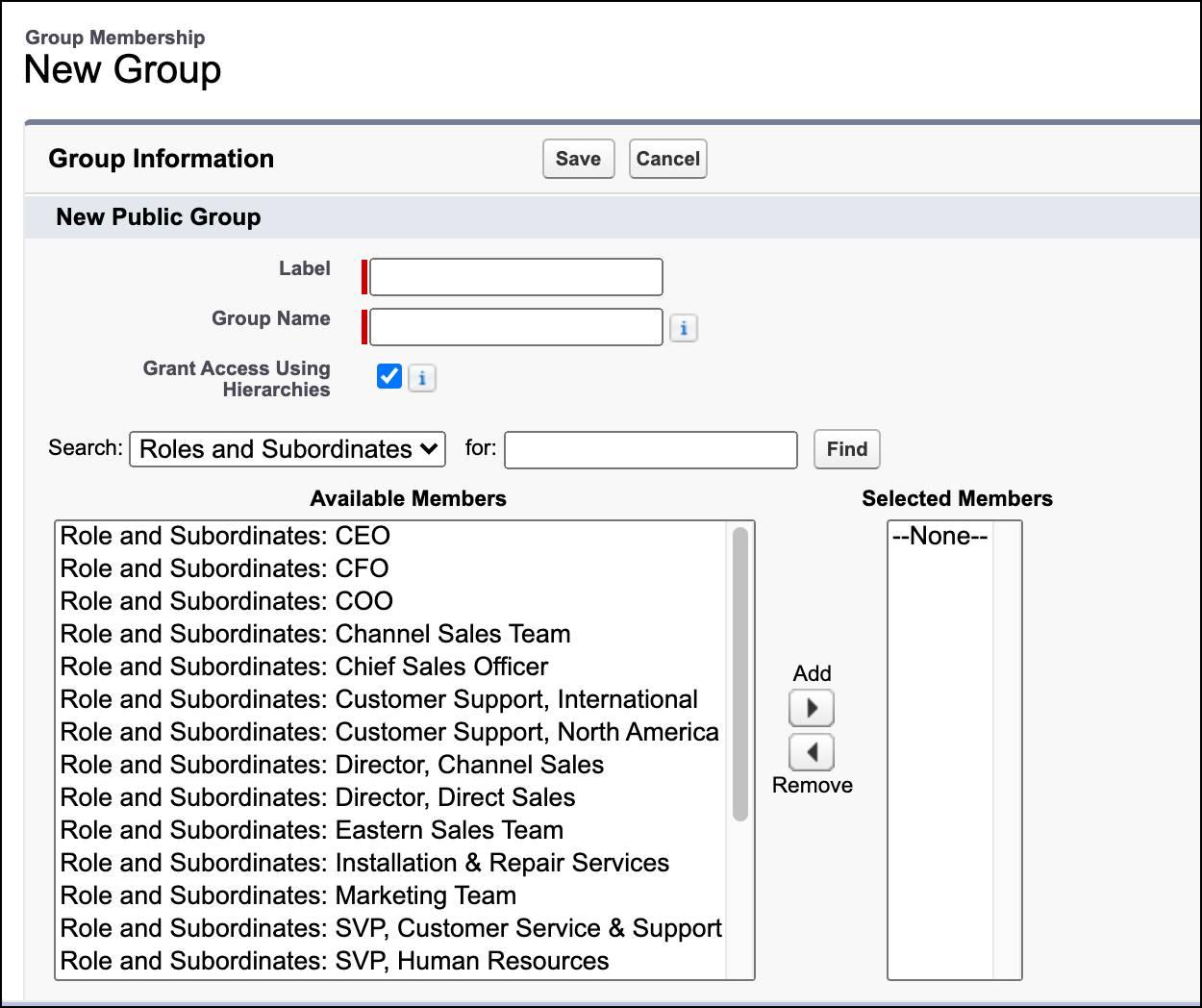 Criar um grupo público na página Configuração