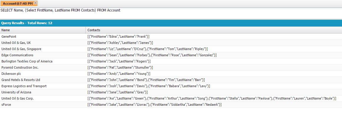 Résultats de requête SOQL affiché dans la Developer Console