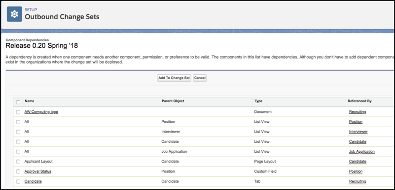 Component Dependencies page, listing dependencies by name and what references them.