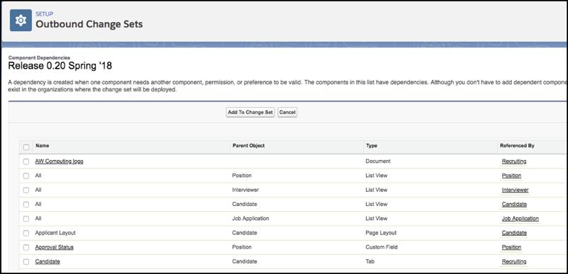 Página de dependências de componente indicando as dependências por nome e o que as referencia.