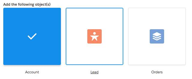 Three icons wrapped in a box with borders and written labels below them: Account icon, Lead icon, and Orders icon. The Account icon changes to a checkmark in the middle, the box color is blue, and the Account label is not underlined, but the Lead label icon next it is underlined.