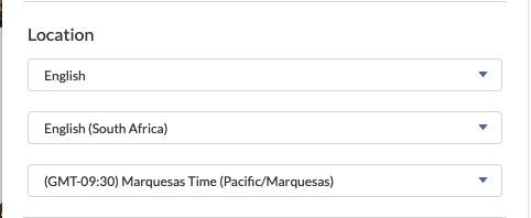Location form with English, English (South Africa), and (GMT-09:30) Marquesas (Pacific/Marquesas) dropdown lists.