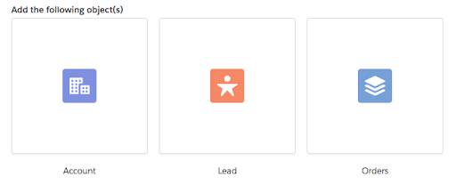 Three icons wrapped in a box with grey borders and labels below them: Account icon, Lead icon, and Orders icon.