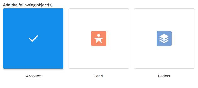 Three icons wrapped in a box with borders and written labels below them: Account icon, Lead icon, and Orders icon. The Account icon changes to a checkmark in the middle, the box color is blue, and the Account label is underlined to indicate it is focused and selected.