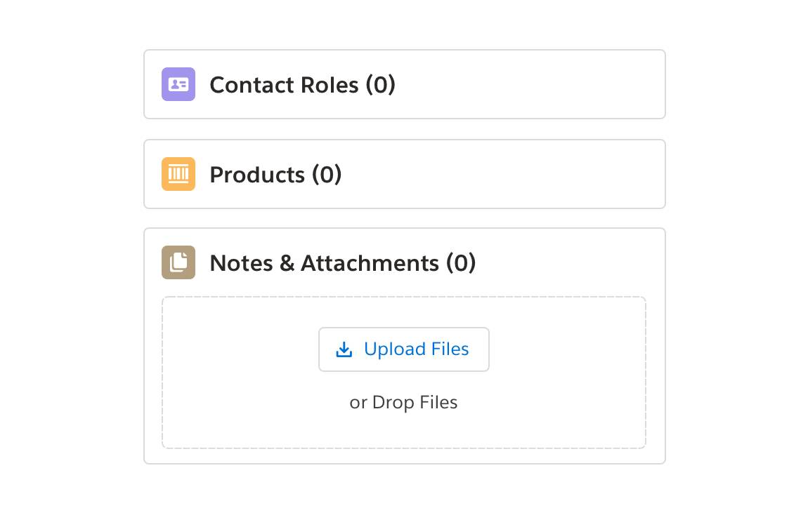 Interface image displaying the Contact Roles, Products, and Notes & Attachment icons with adjacent text describing the same information (that is, files icon next to Notes & Attachments (0)).