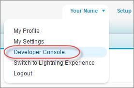 開発者コンソールへのアクセス、Salesforce Classic