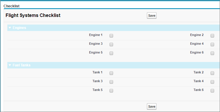 Preview of Flight Systems Visualforce Page