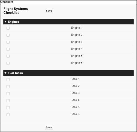 Vista previa de la página de Visualforce Flight Systems Checklist (Lista de comprobación de sistemas de vuelo)