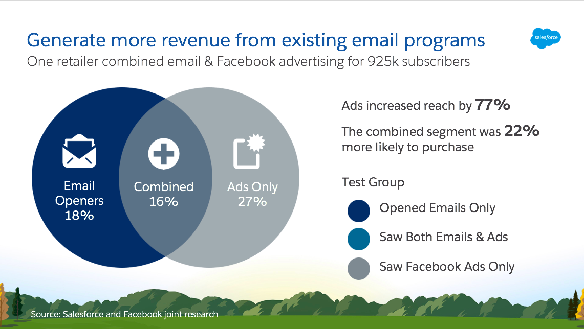 Chart showing how combined email and Facebook advertising generated more revenue for a retailer.