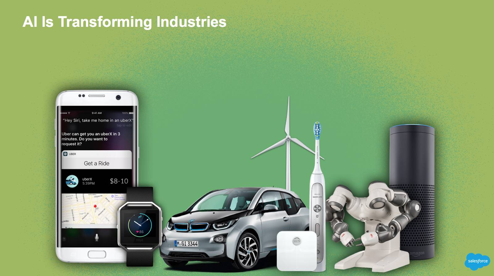 AI is transforming industries: Image shows a smartphone, smartwatch, electric toothbrush, Amazon Echo, robot, and connected car, scale, and wind turbine