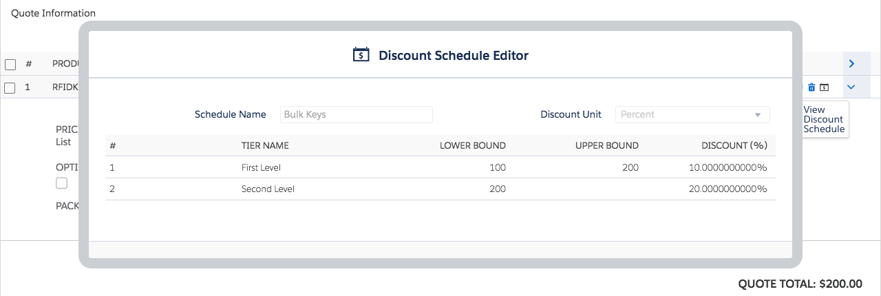 Quote Line Editor with Discount Schedule