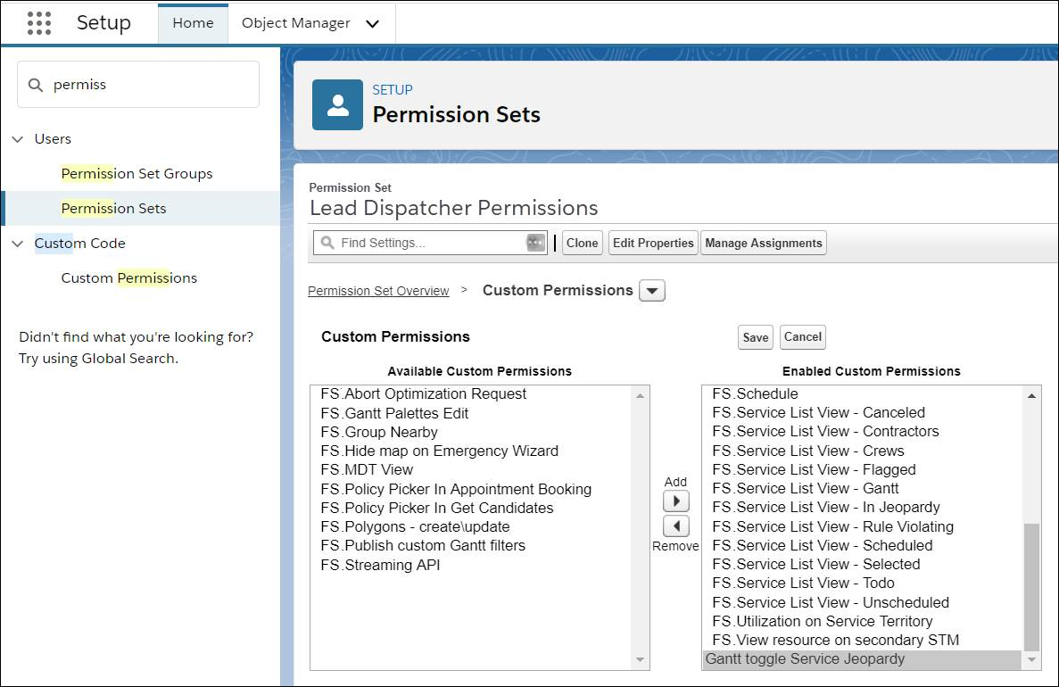 Lead Dispatchers permission set showing the Ganttt toggle Service Jeopary permission added to the list of enabled permissions.
