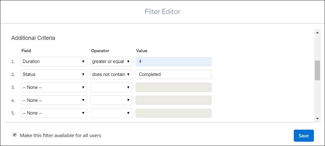 Filter Editor displaying the field criteria for Duration and Status.